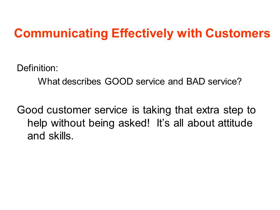 Communicating Effectively with Customers