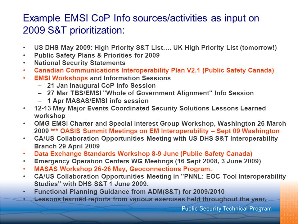 Example EMSI CoP Info sources/activities as input on 2009 S&T prioritization: