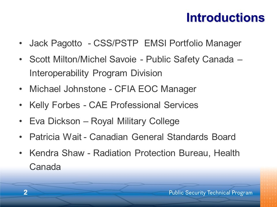 Introductions Jack Pagotto - CSS/PSTP EMSI Portfolio Manager
