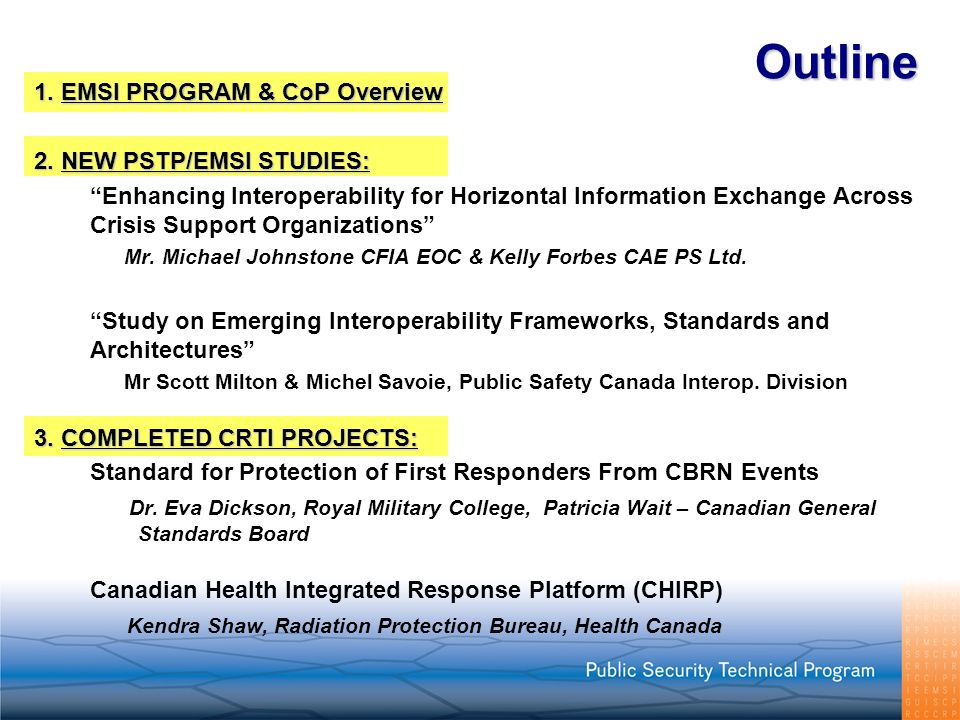 Outline 1. EMSI PROGRAM & CoP Overview 2. NEW PSTP/EMSI STUDIES: