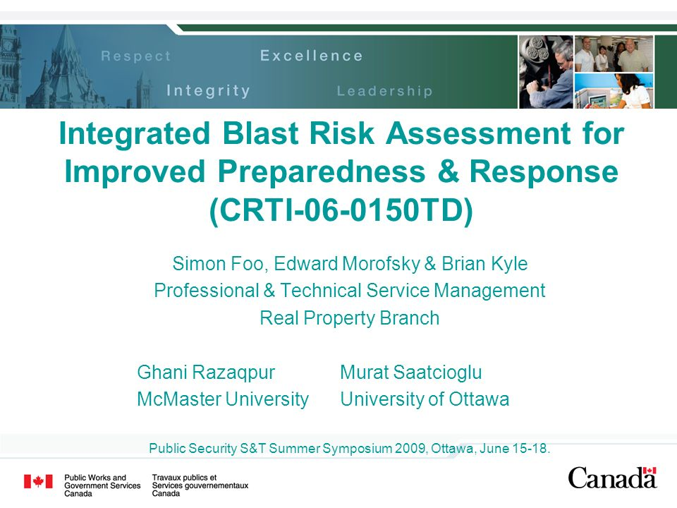 Integrated Blast Risk Assessment for Improved Preparedness & Response (CRTI-06-0150TD)