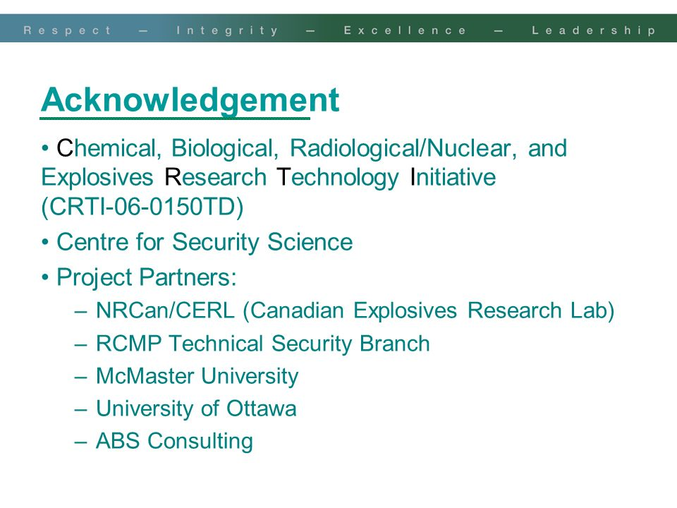 Acknowledgement Chemical, Biological, Radiological/Nuclear, and Explosives Research Technology Initiative (CRTI-06-0150TD)