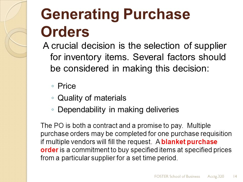 Generating Purchase Orders
