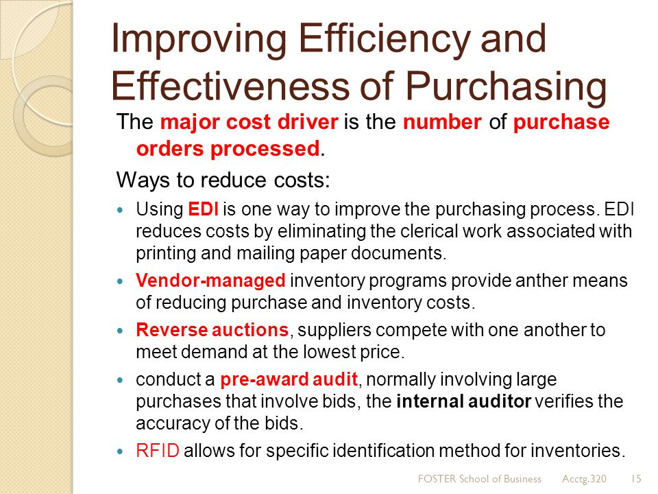 Improving Efficiency and Effectiveness of Purchasing
