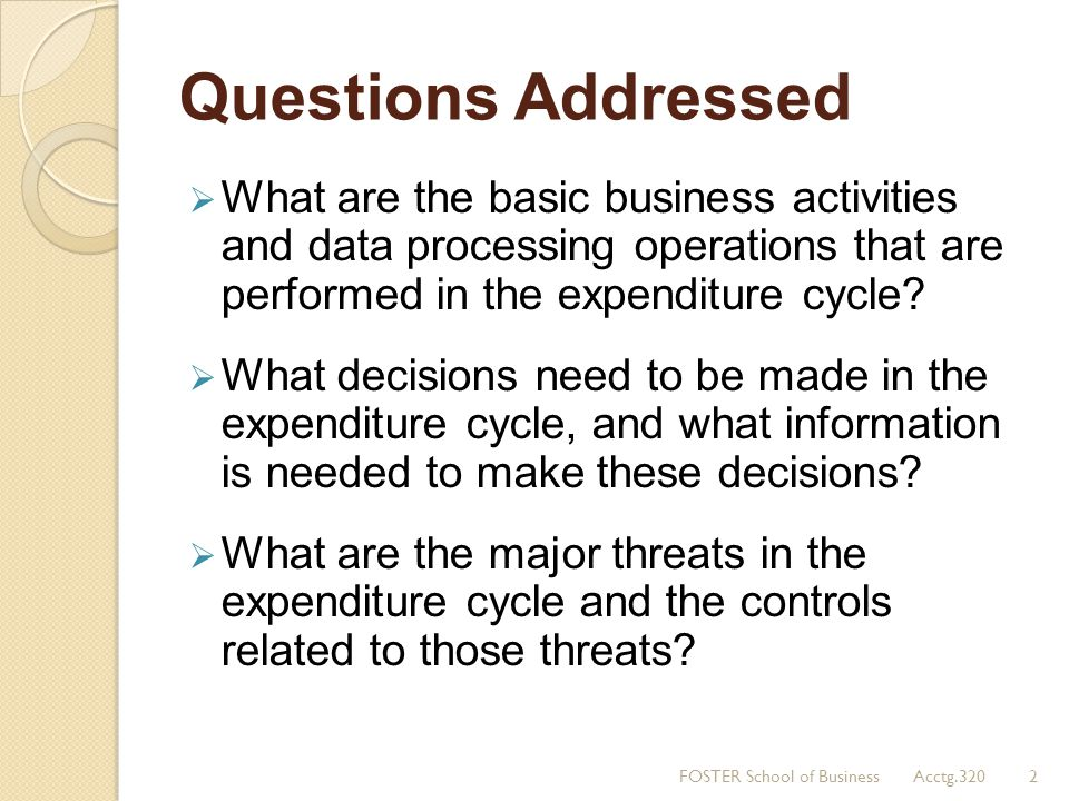 Questions Addressed What are the basic business activities and data processing operations that are performed in the expenditure cycle