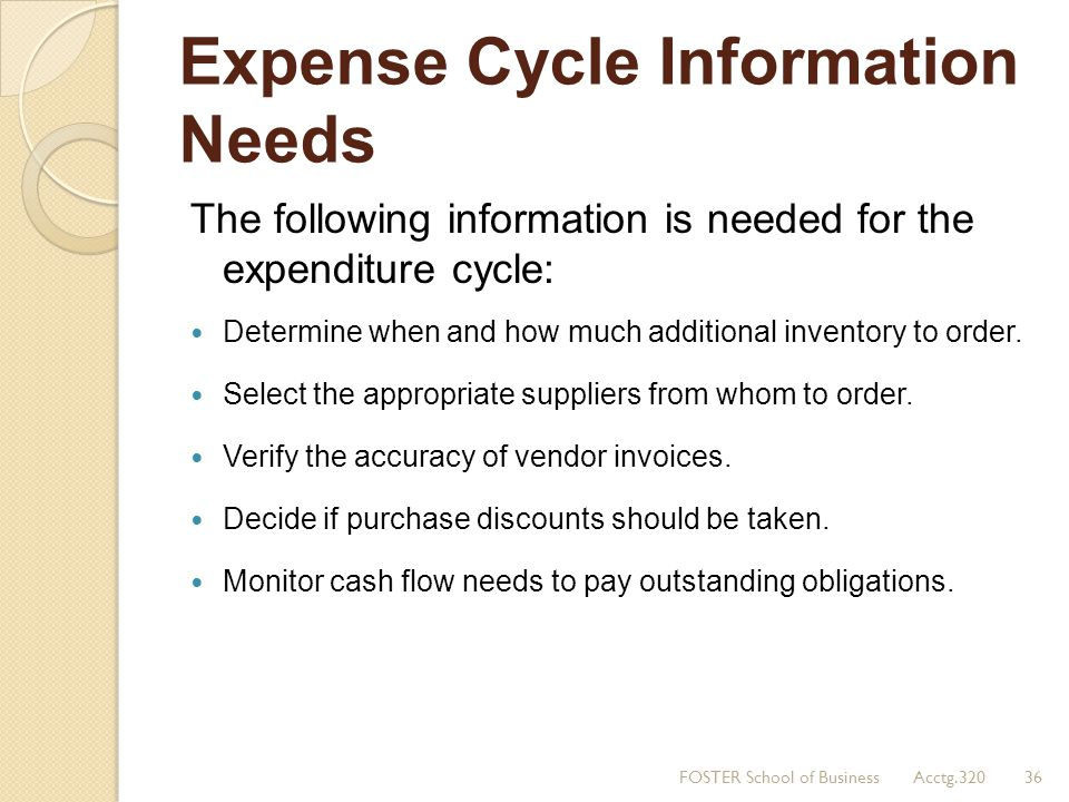 Expense Cycle Information Needs