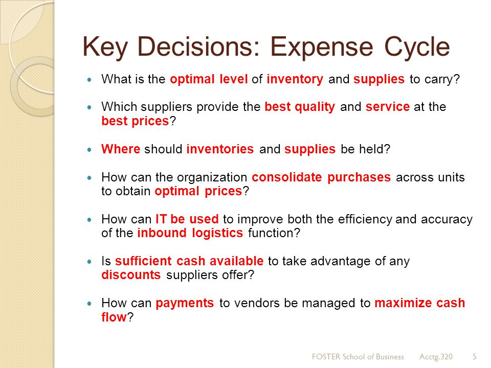 Key Decisions: Expense Cycle