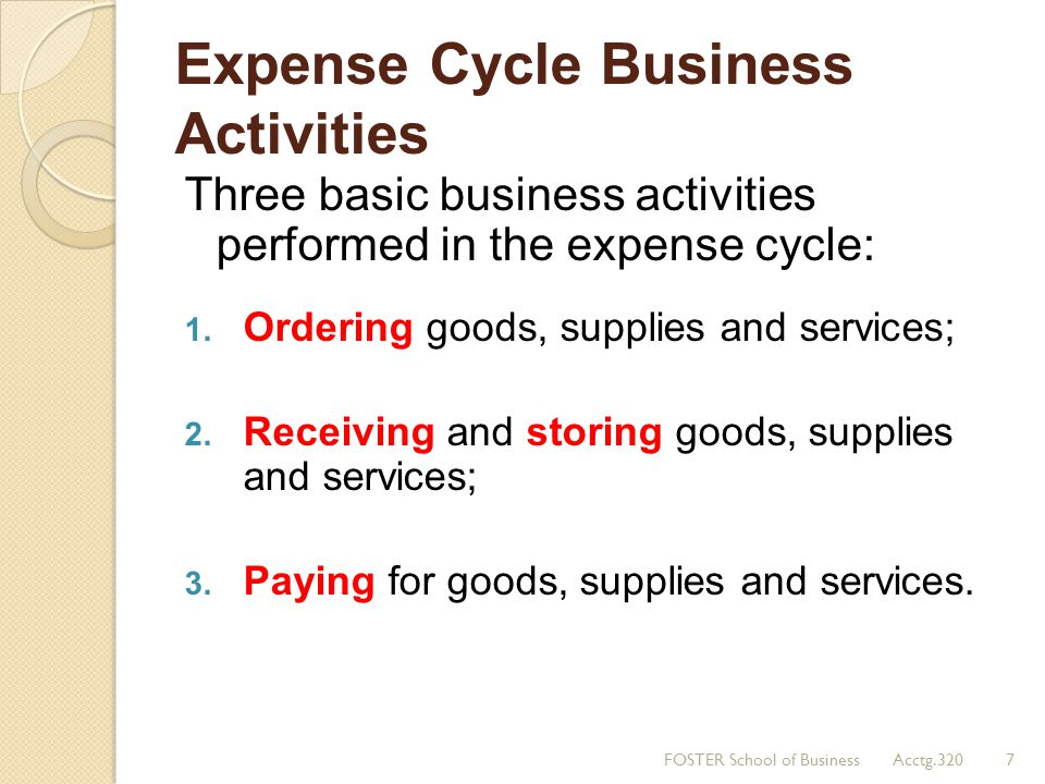Expense Cycle Business Activities