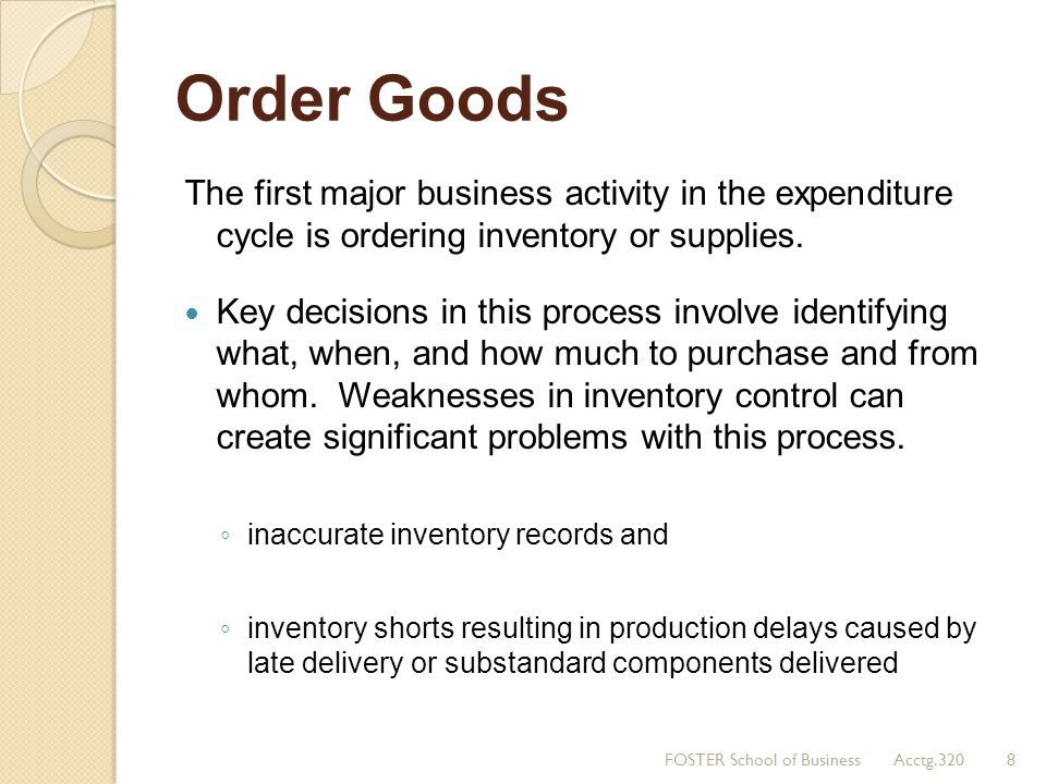 Order Goods The first major business activity in the expenditure cycle is ordering inventory or supplies.