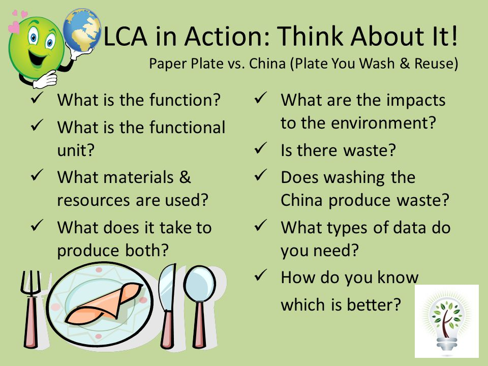 LCA in Action: Think About It. Paper Plate vs