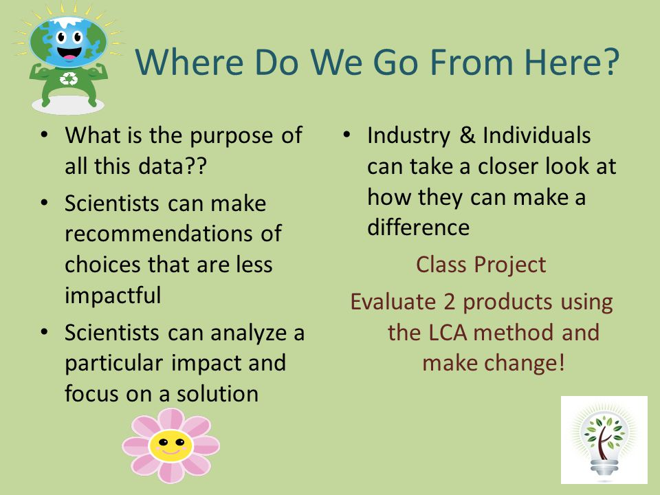 Evaluate 2 products using the LCA method and make change!