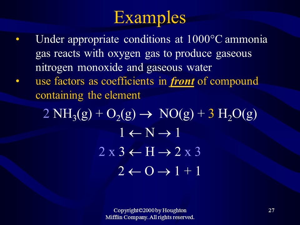 Examples 2 NH3(g) + O2(g)  NO(g) + 3 H2O(g) 1  N 1