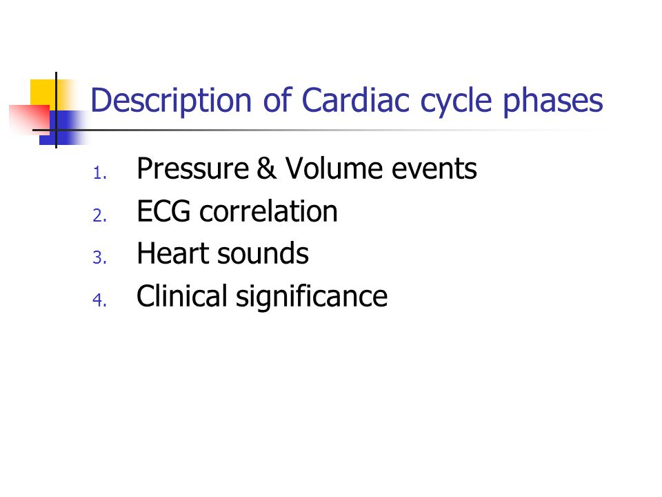 Description of Cardiac cycle phases