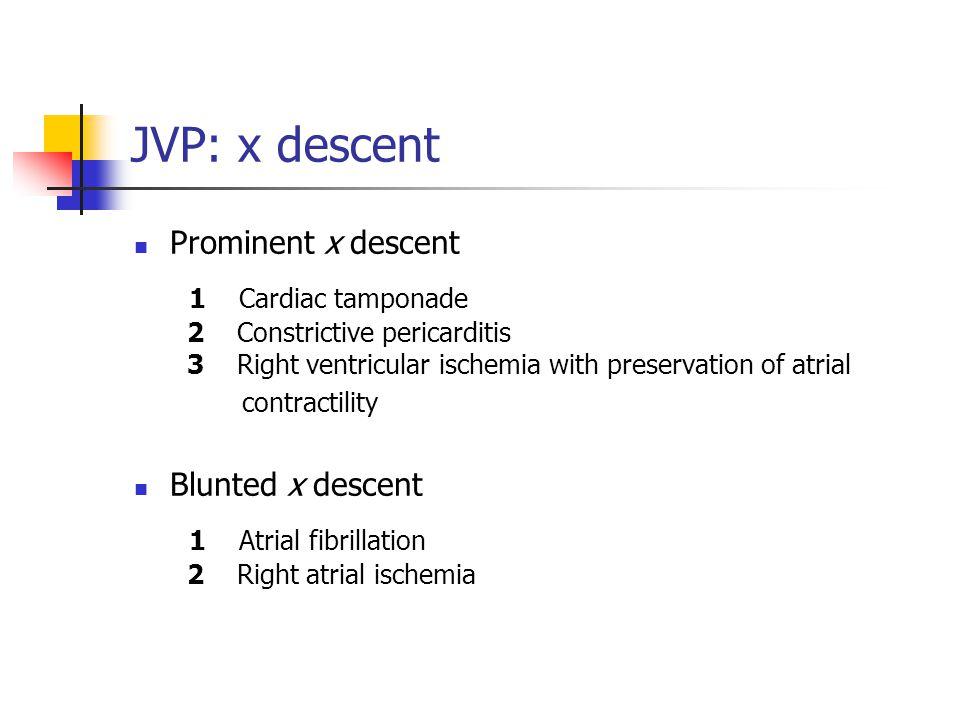 JVP: x descent Prominent x descent