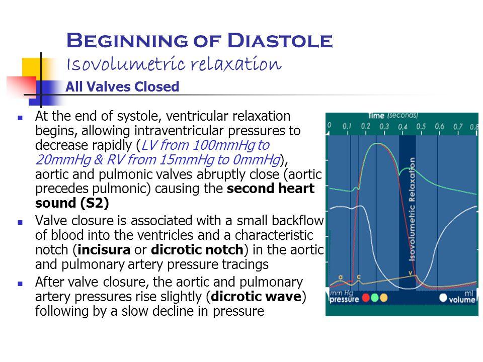Beginning of Diastole Isovolumetric relaxation All Valves Closed