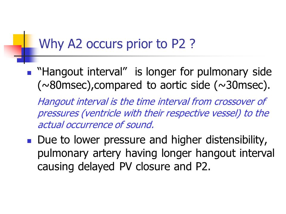 Why A2 occurs prior to P2 Hangout interval is longer for pulmonary side (~80msec),compared to aortic side (~30msec).