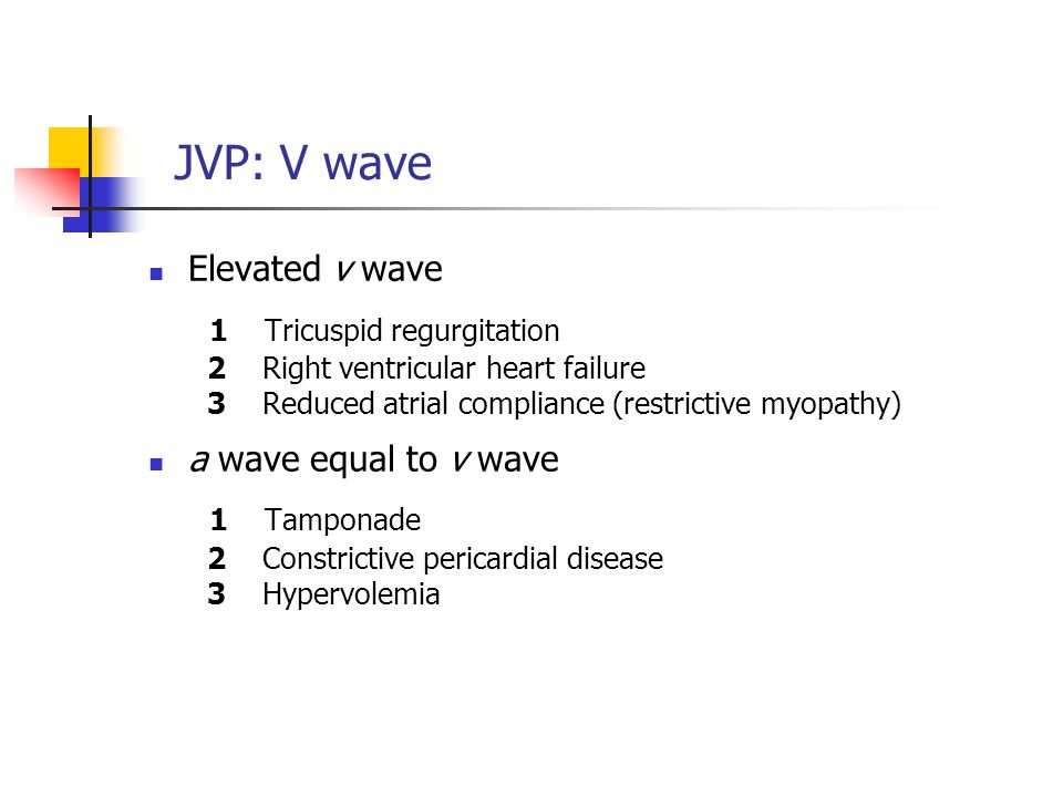 JVP: V wave Elevated v wave