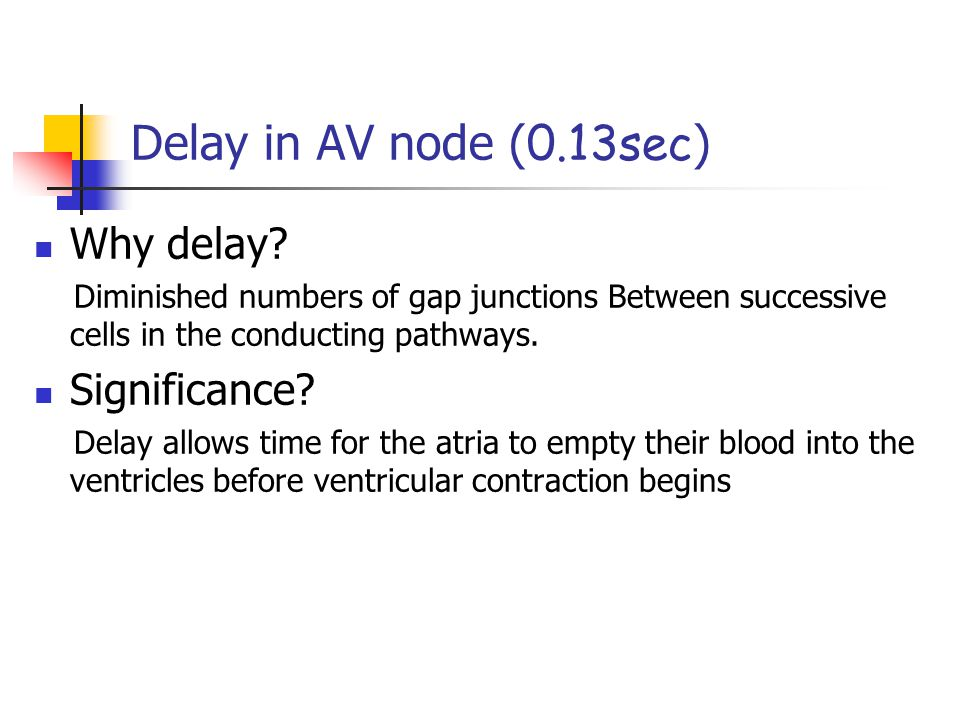 Delay in AV node (0.13sec) Why delay Significance