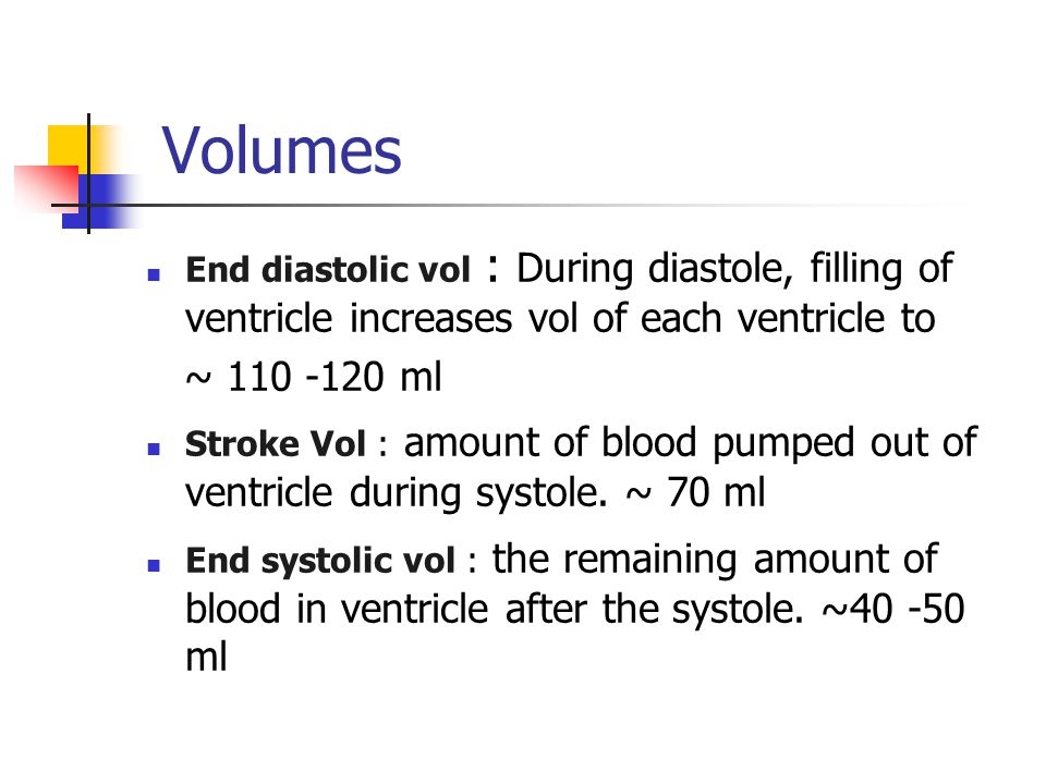 Volumes End diastolic vol : During diastole, filling of ventricle increases vol of each ventricle to.