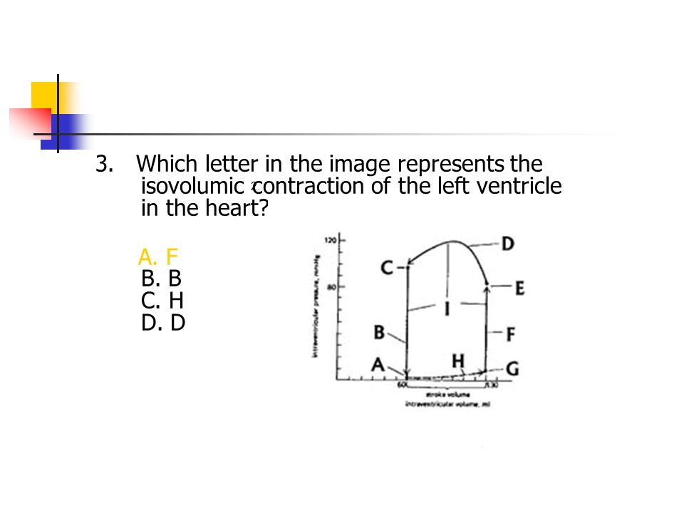 3. Which letter in the image represents the isovolumic contraction of the left ventricle in the heart