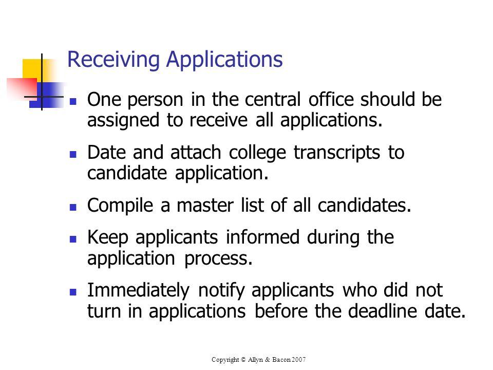 Receiving Applications