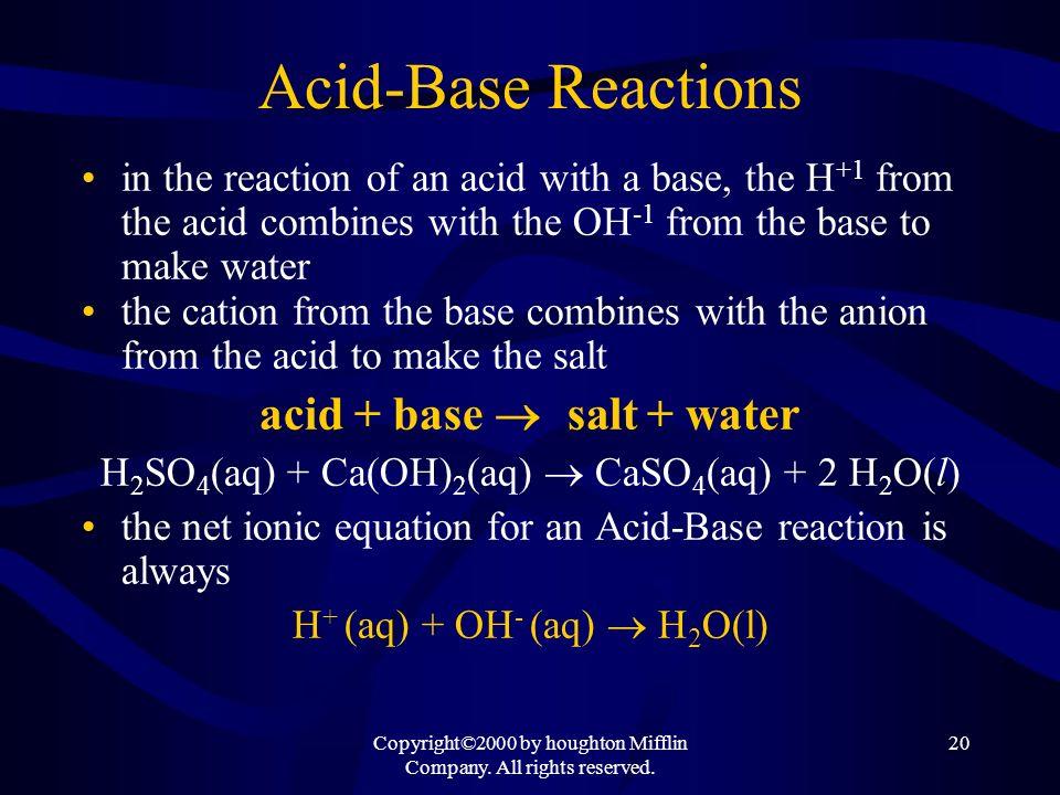 Acid-Base Reactions acid + base salt + water