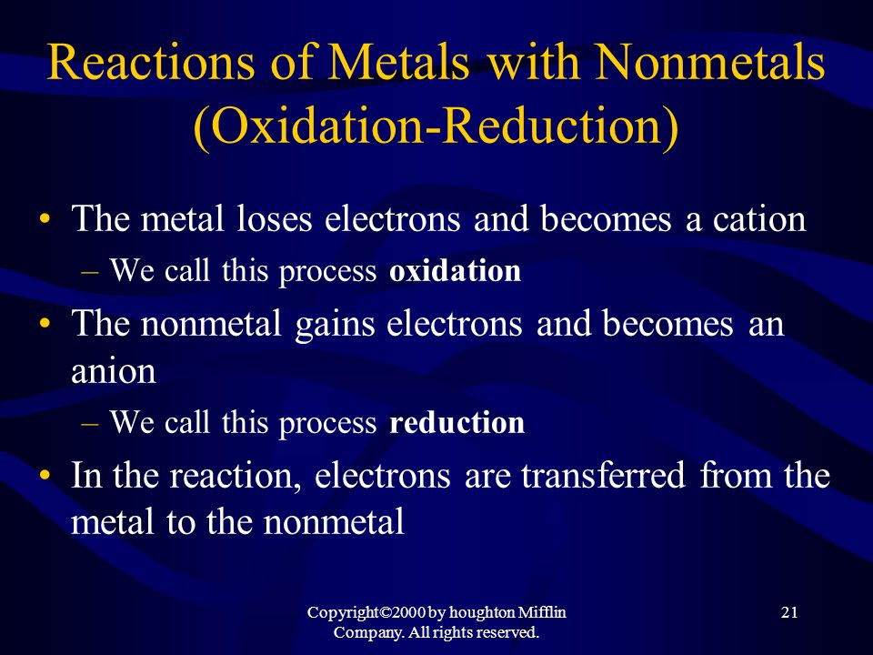 Reactions of Metals with Nonmetals (Oxidation-Reduction)