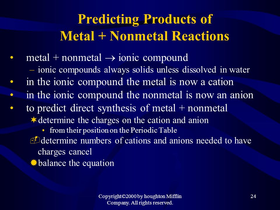 Predicting Products of Metal + Nonmetal Reactions