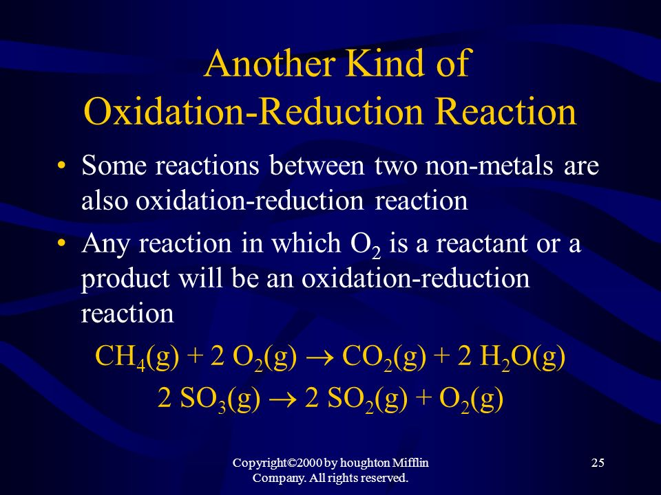 Another Kind of Oxidation-Reduction Reaction