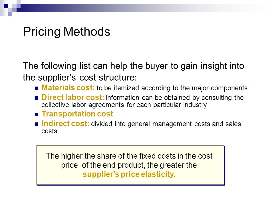 supplier s price elasticity.