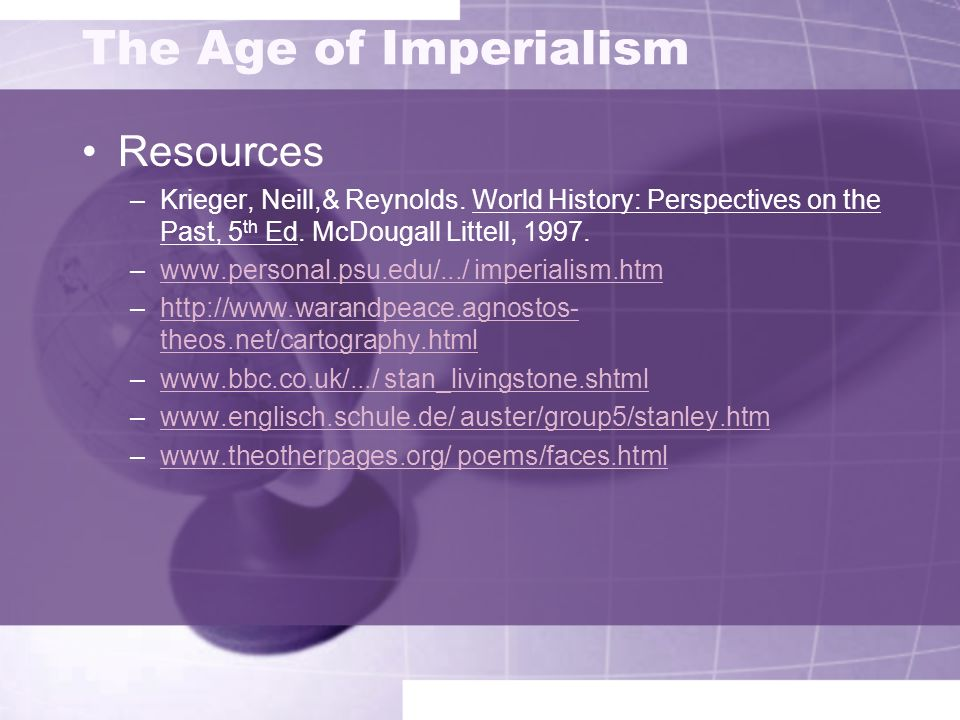 The Age of Imperialism Resources