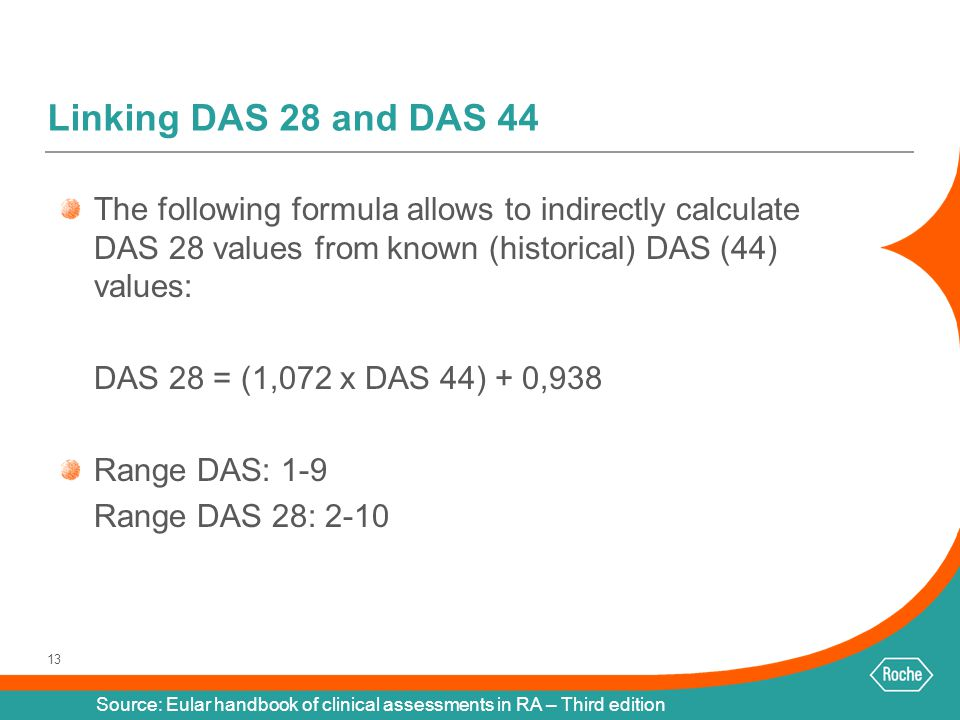 Linking DAS 28 and DAS 44 The following formula allows to indirectly calculate DAS 28 values from known (historical) DAS (44) values: