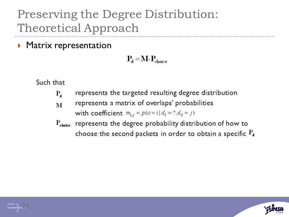 Preserving the Degree Distribution: Theoretical Approach