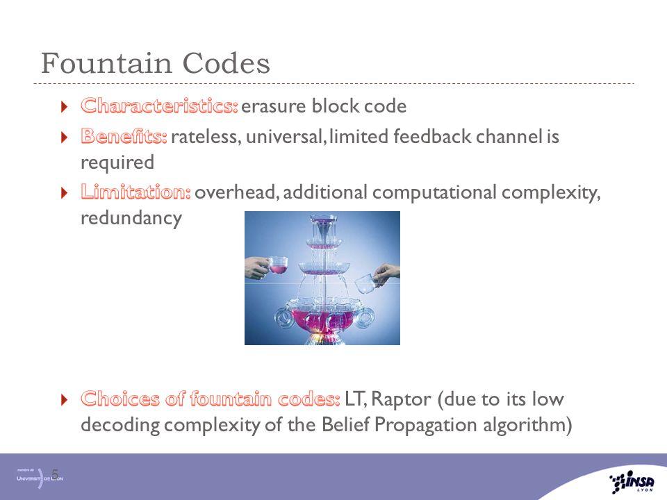 Fountain Codes Characteristics: erasure block code
