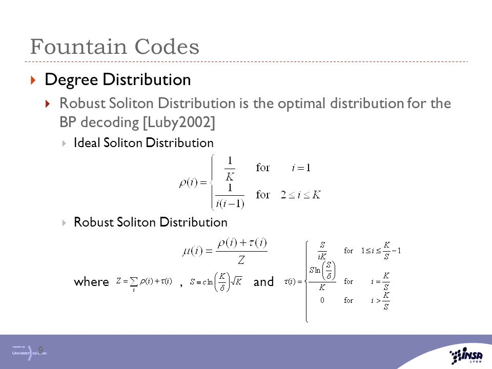 Fountain Codes Degree Distribution