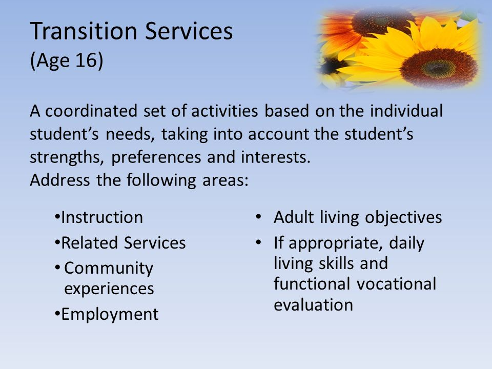 Transition Services (Age 16) A coordinated set of activities based on the individual student's needs, taking into account the student's strengths, preferences and interests. Address the following areas: