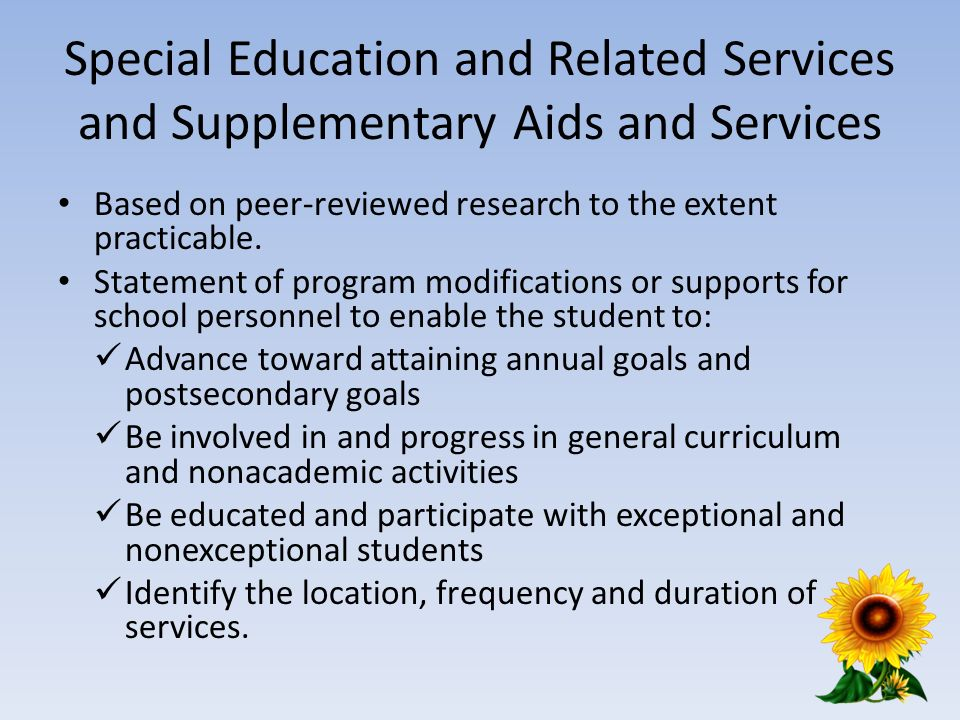 Special Education and Related Services and Supplementary Aids and Services