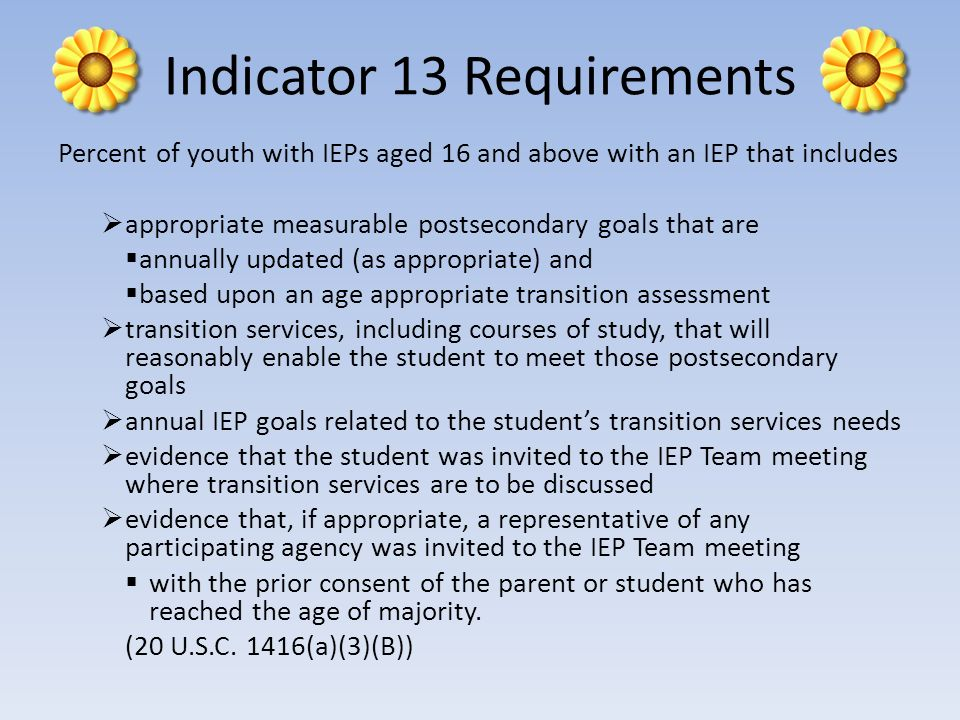 Indicator 13 Requirements