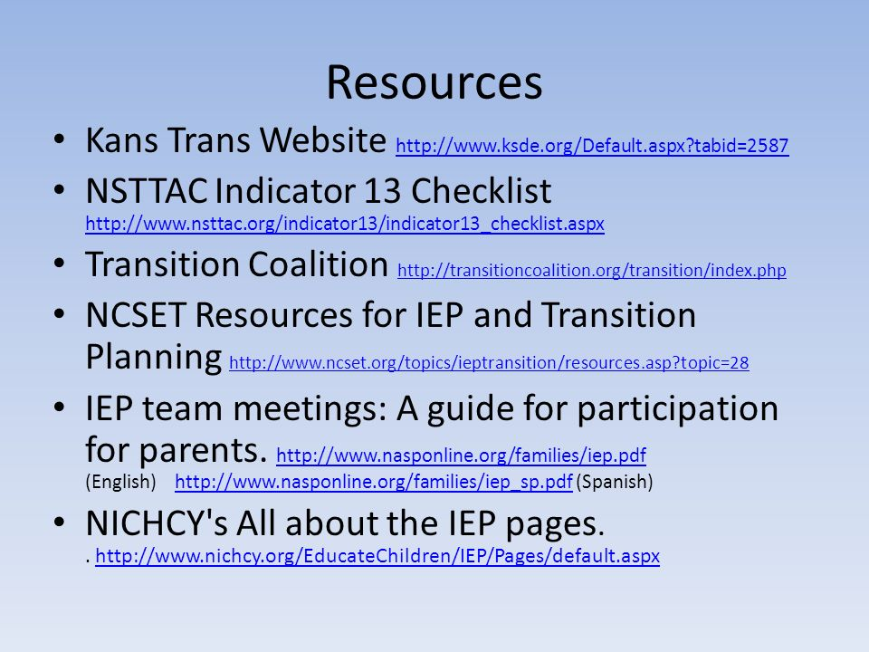 Resources Kans Trans Website http://www.ksde.org/Default.aspx tabid=2587.