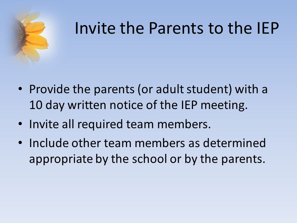 Invite the Parents to the IEP