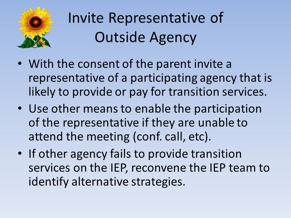 Invite Representative of Outside Agency