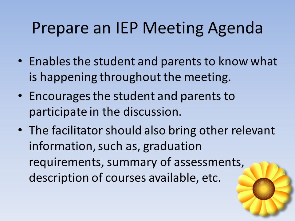 Prepare an IEP Meeting Agenda