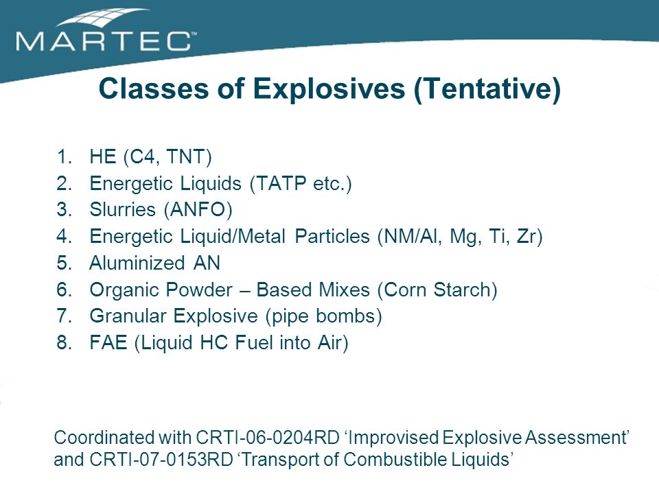 Classes of Explosives (Tentative)