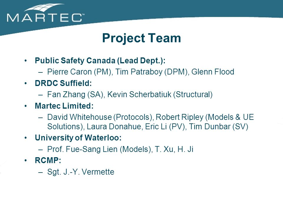Project Team Public Safety Canada (Lead Dept.):