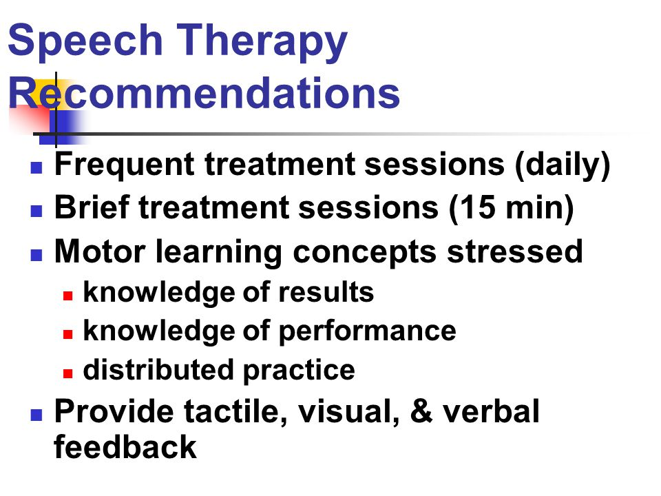 Speech Therapy Recommendations