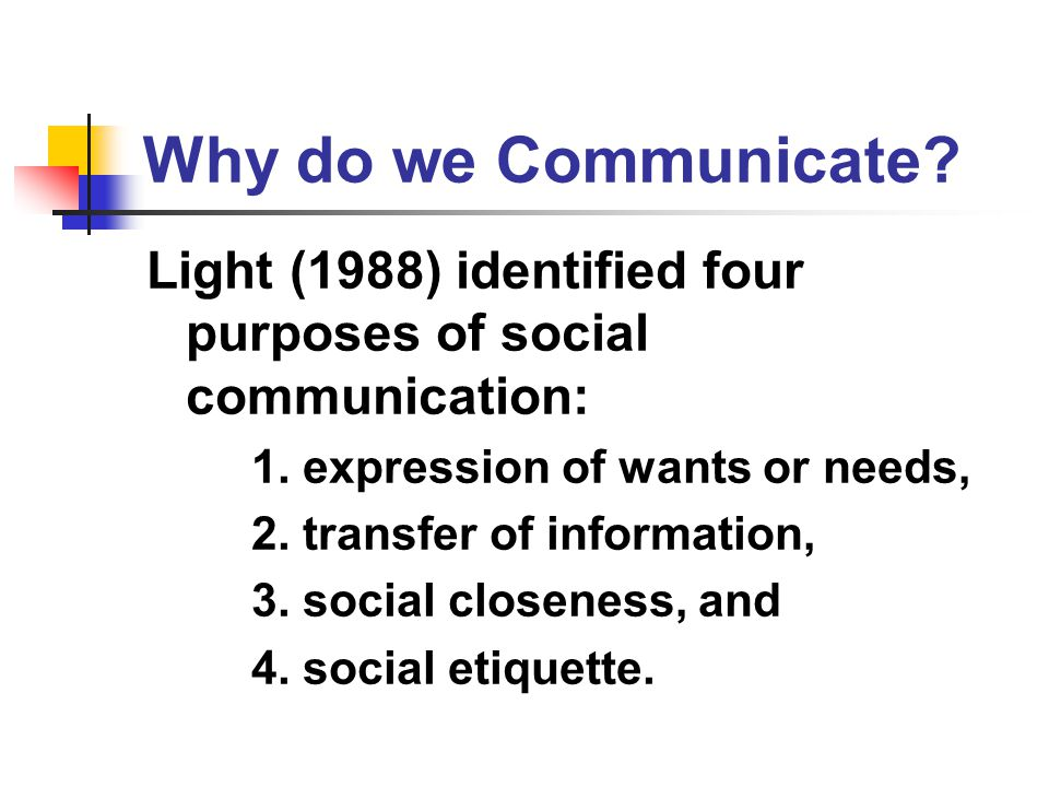 Why do we Communicate Light (1988) identified four purposes of social communication: 1. expression of wants or needs,