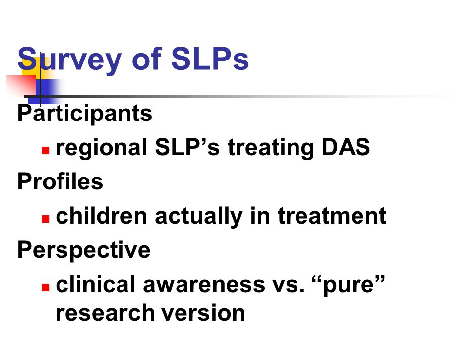 Survey of SLPs Participants regional SLP's treating DAS Profiles