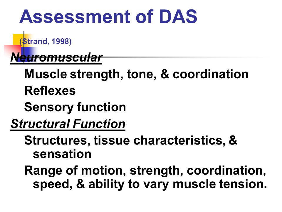 Assessment of DAS (Strand, 1998)
