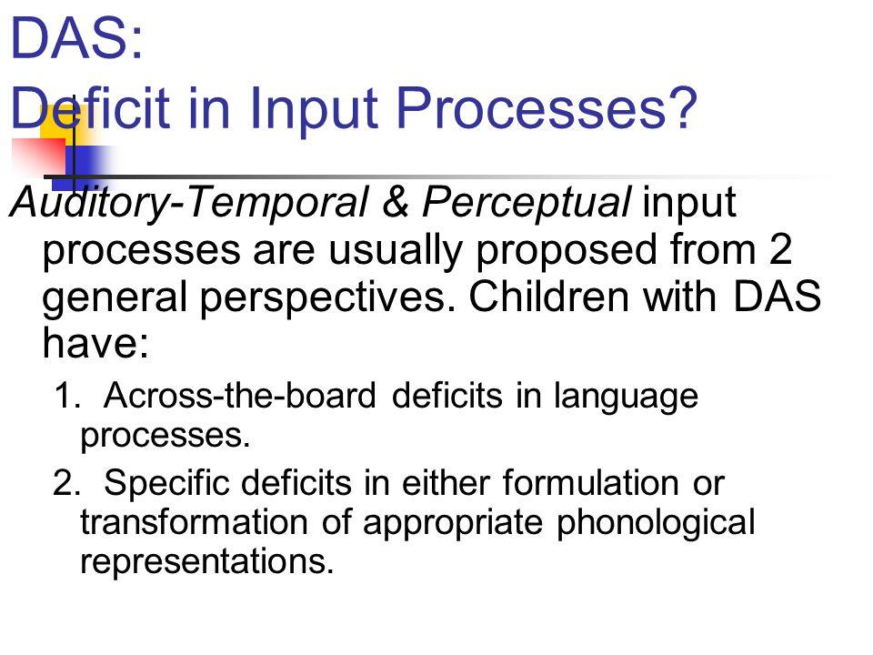 DAS: Deficit in Input Processes