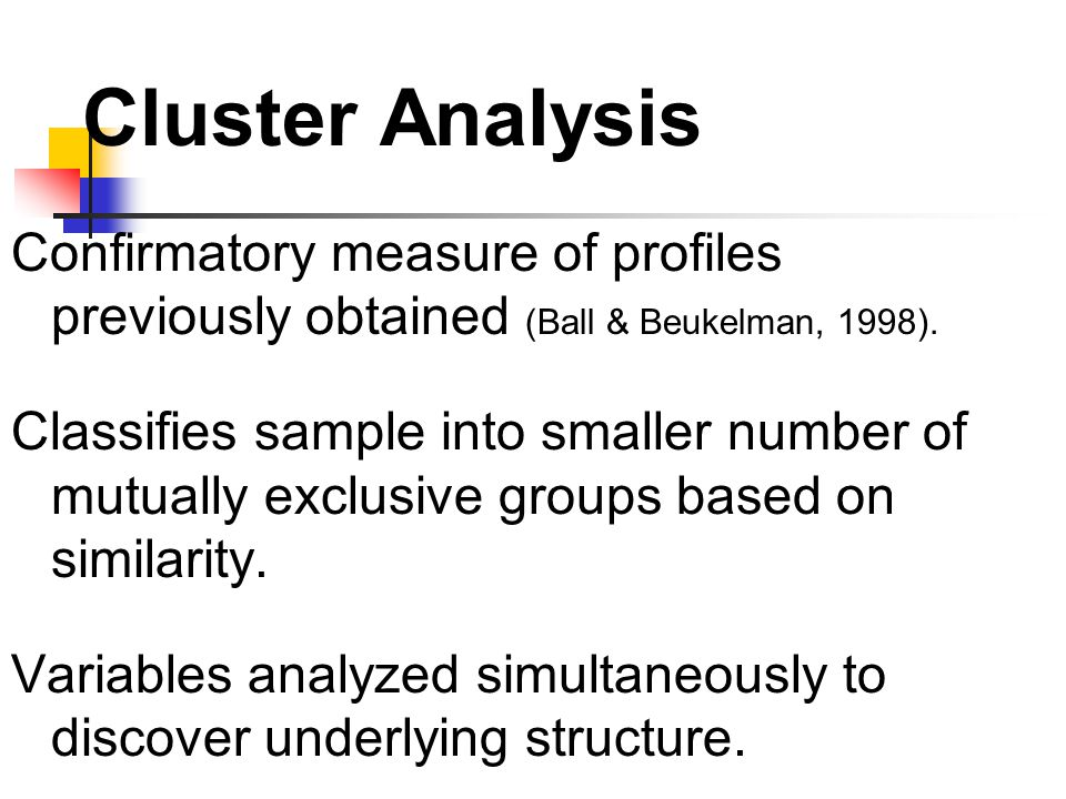 Cluster Analysis Confirmatory measure of profiles previously obtained (Ball & Beukelman, 1998).